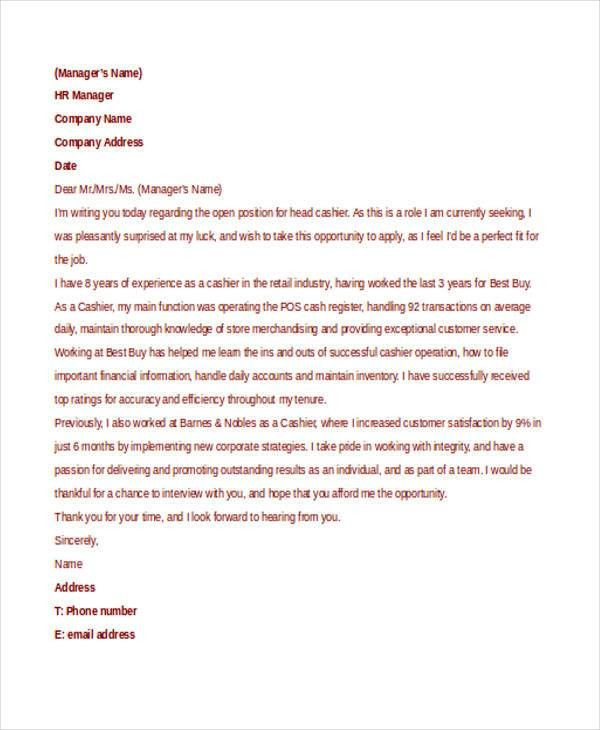 7+ Retail Cover Letter Templates - Free sample, Example Format ...