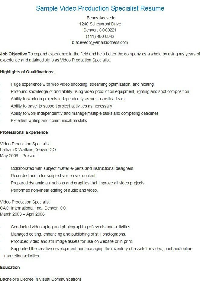 Sample Video Production Specialist Resume | resame | Pinterest ...