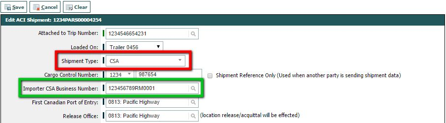 CSA (CBSA Shipment Type) - BorderConnect