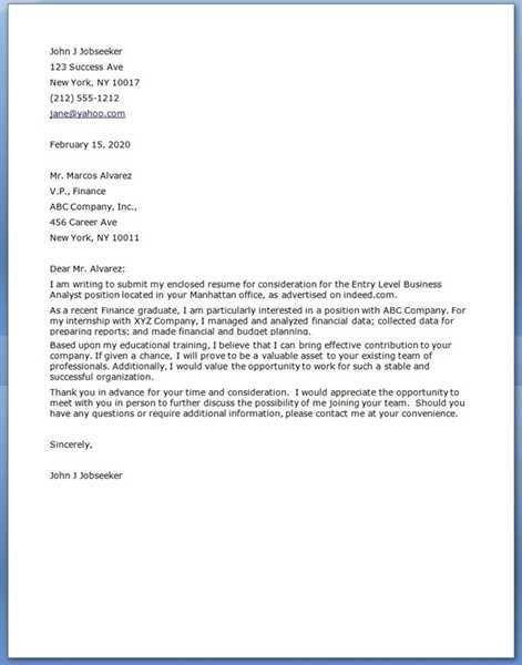 Entry Level Marketing Cover Letter