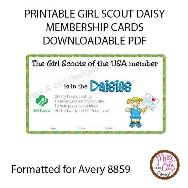 Girl Scout Daisy Printable Membership Cards (editable PDF) – Max ...