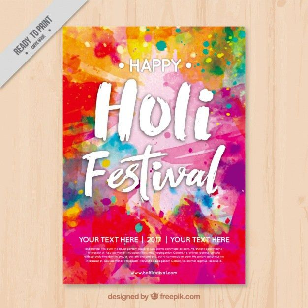 Colorful holi flyer template Vector | Free Download