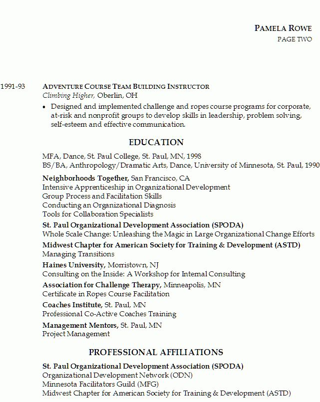 Resume for Organizational Development - Susan Ireland Resumes