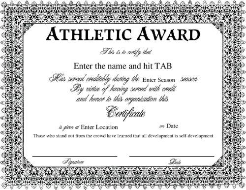certificate award templates
