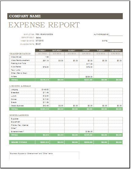 Daily, Weekly & Monthly Expense Report Template | Excel Templates