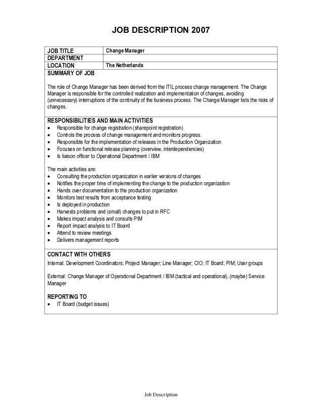Job Description - Change Manager