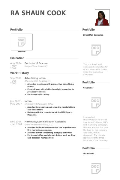 Advertising Intern Resume samples - VisualCV resume samples database