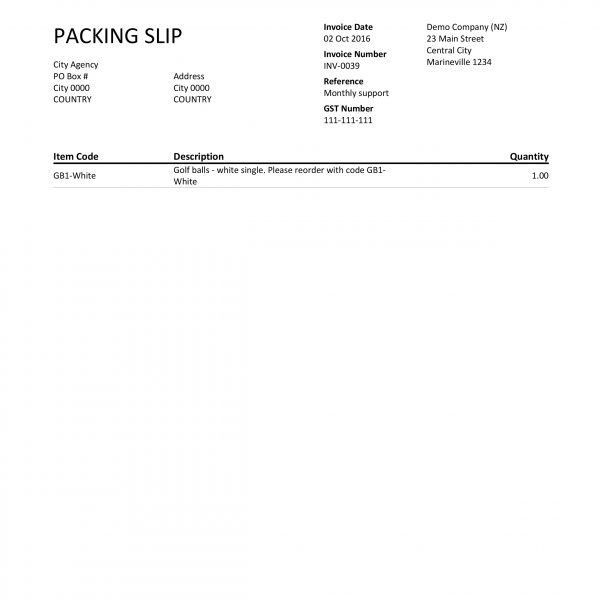 Xero Custom Template - Packing Slip - Katalyst