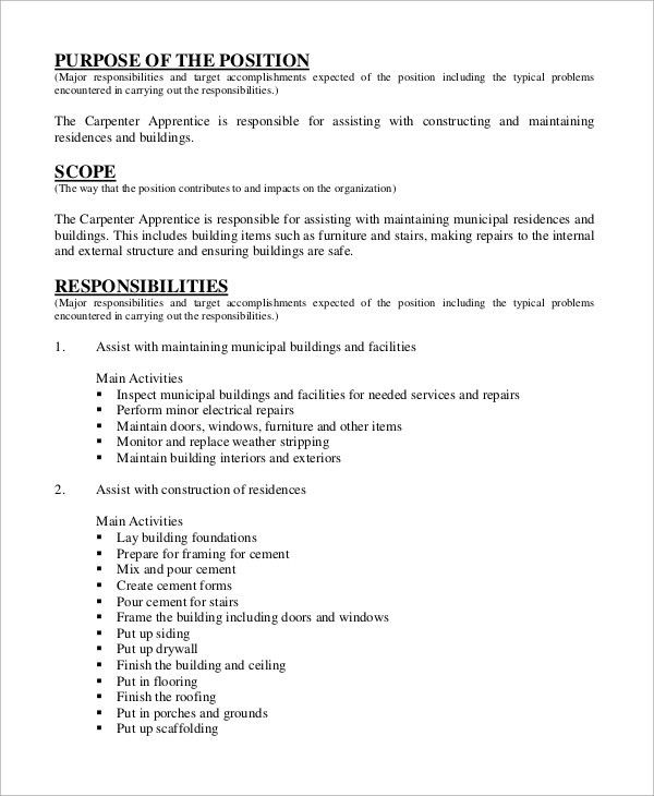 Sample Carpenter Job Description - 10+ Examples in Word, PDF