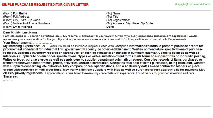 Purchase Request Editor Cover Letter