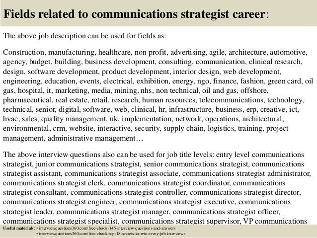 Top 10 communications strategist interview questions and answers