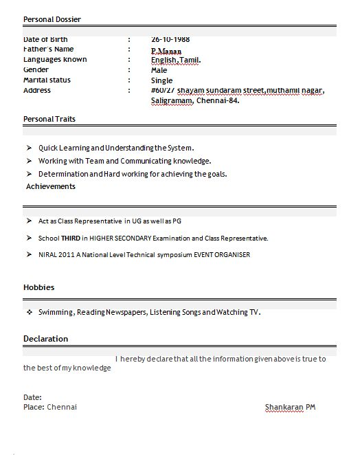 Download Resume Freshers Format | haadyaooverbayresort.com