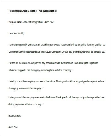 Sample Two Weeks Notice - 6+ Examples in Word, PDF