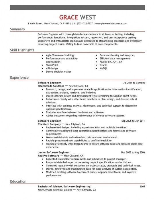 The Stylish Software Engineer Resume Template | Resume Format Web