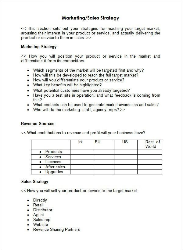 Marketing Plan Template Pdf. sample sales plan template 17 free ...