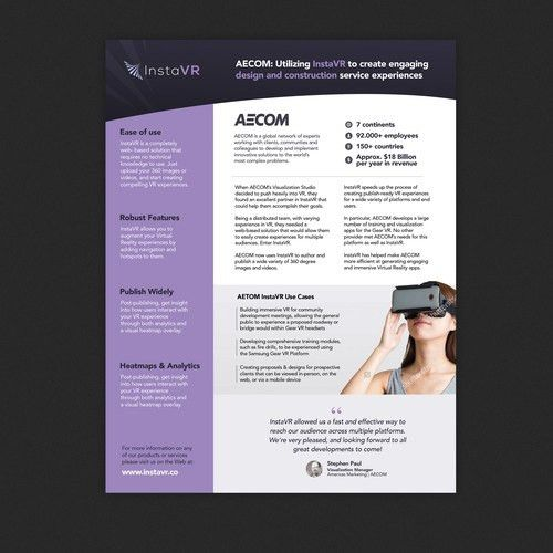 ASAP: B2B SaaS product single page brochure design. InstaVR ...