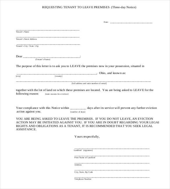 45 Eviction Notice Templates Amp Lease Termination Letters ...