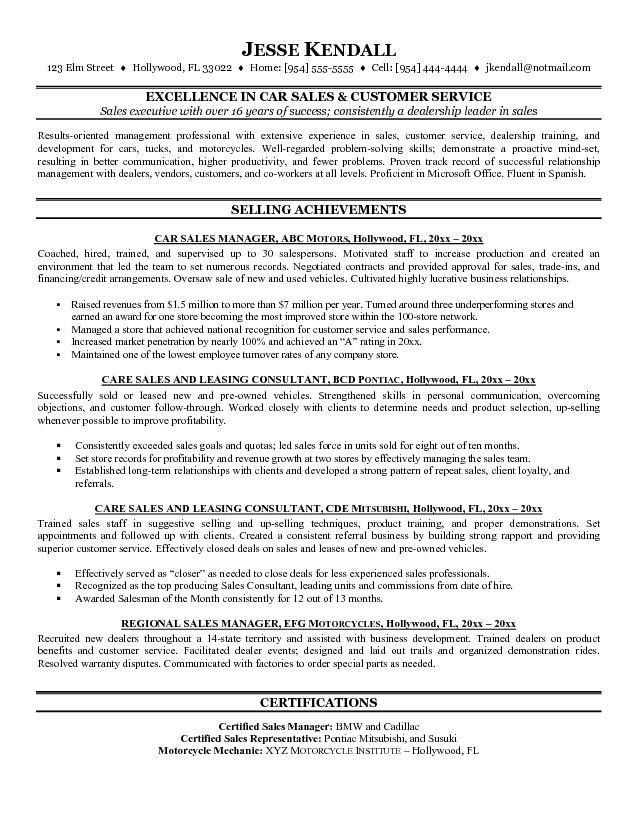 auto sales resume - Template