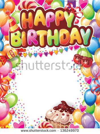 Template Happy Birthday Card Stock Vector 136249970 - Shutterstock