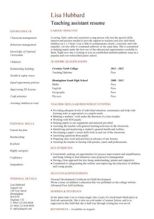 Teacher Assistant Resume Sample - Best Resume Collection