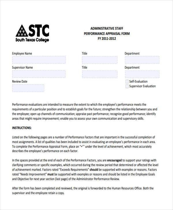 26+ Performance Appraisal Form Format