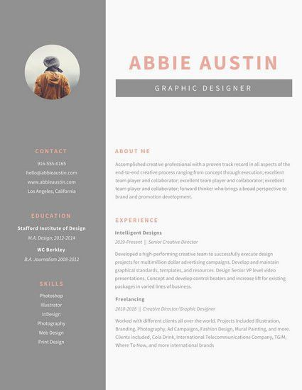 Gray Sidebar Graphic Design Resume - Templates by Canva