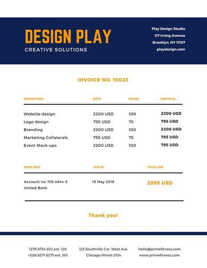 Navy Blue Yellow Simple Invoice Letterhead - Templates by Canva