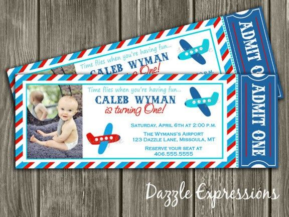 Red, Blue and Aqua Airplane Ticket Birthday Party Invitation ...
