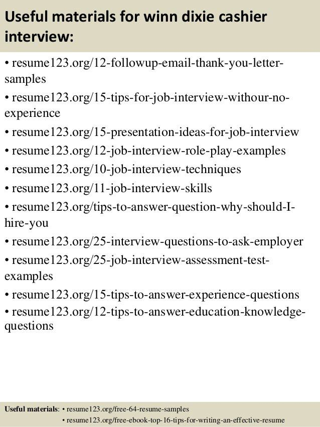Top 8 winn dixie cashier resume samples