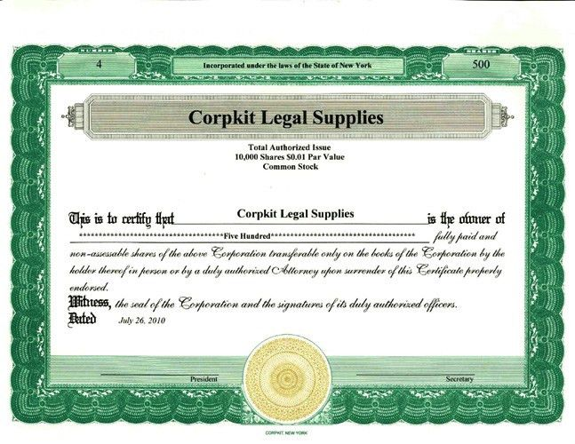 Standard Wording :: Stock Certificates Border Only or Standard ...