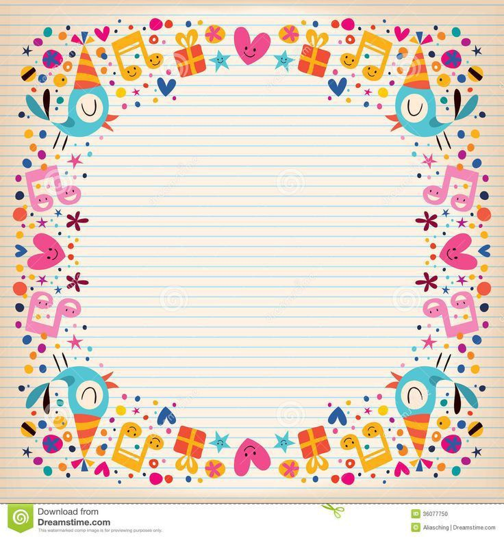 happy-birthday-border-lined-paper-card-cute-characters-36077750 ...