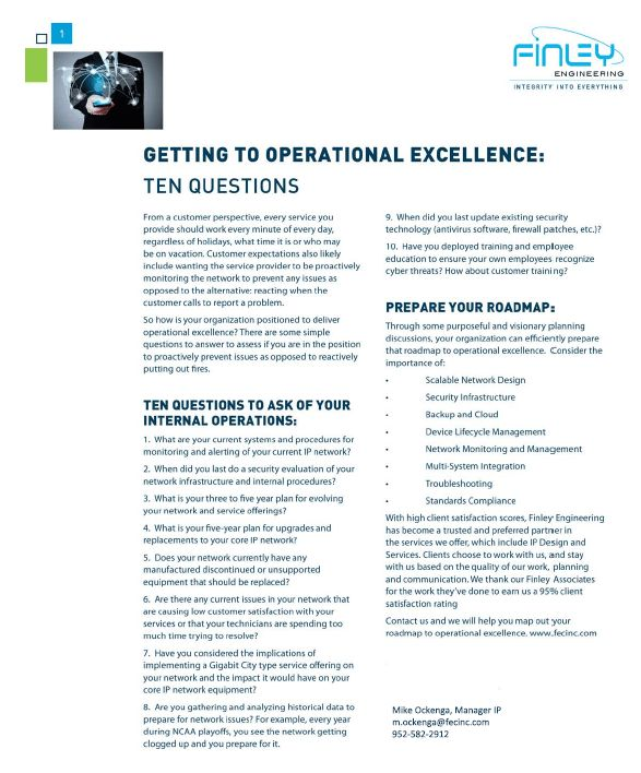 Telecom Whitepaper, 10 Questions to Operational Excellence