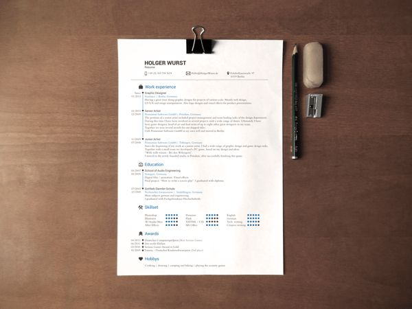 CV Mockup | Simple DinA4 on desk | Free psd by Holger Wurst, via ...