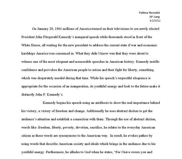 JFK Inaugural Speech Rhetorical Analysis - A-Level English ...
