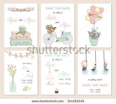 Collection 6 Cute Card Templates Wedding Stock Vector 283223231 ...