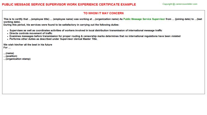 Public Message Service Supervisor Work Experience Certificate