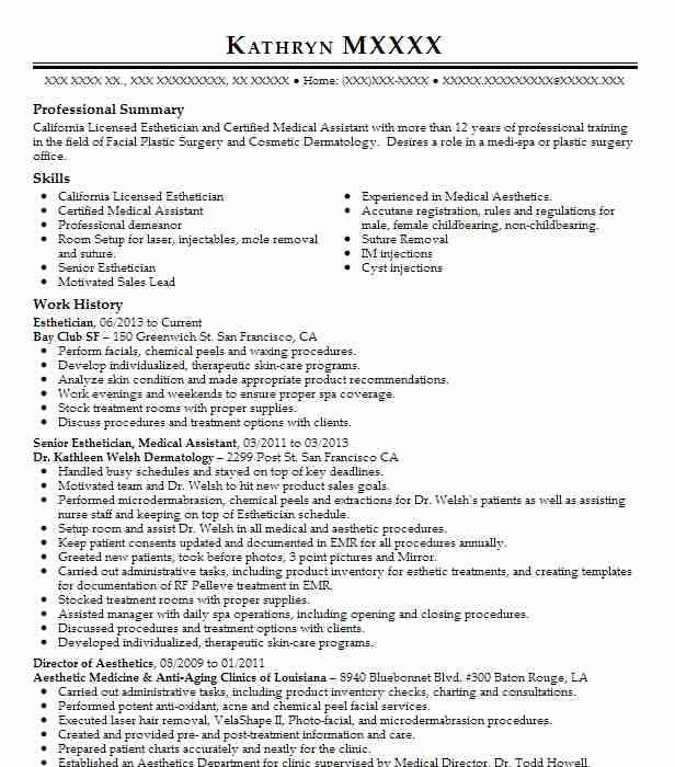 Resume Samples For Estheticians. lpn. esthetician resume with no ...