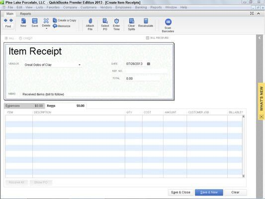 Simultaneously Record the Receipt and the Bill in QuickBooks 2013 ...