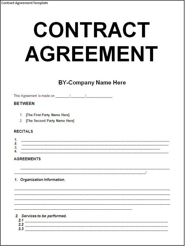 Sample Basic Contract Template. Contract Template : Selimtd ...