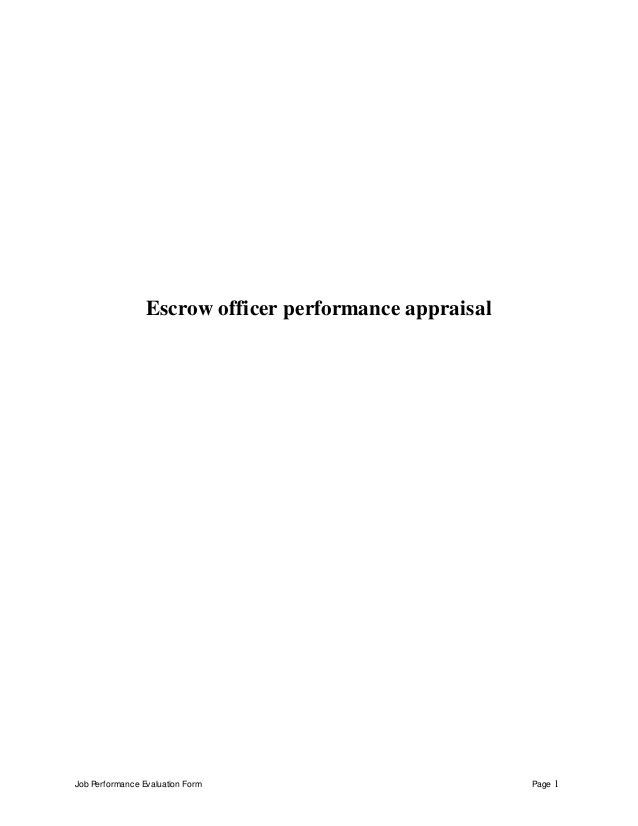 Escrow officer perfomance appraisal 2