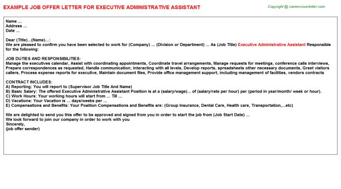 Accounting Administrative Assistant Offer Letters
