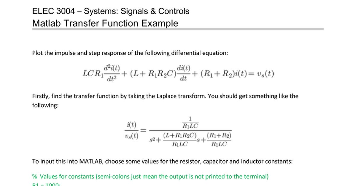 Matlab Transfer Function Example - Google Docs