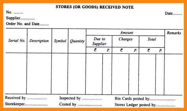 Goods Received Note Format - formats.csat.co