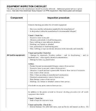 Inspection Checklist Template - 9+ Free Word, PDF Documents ...