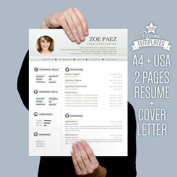 Resume Template + Cover Letter, 2 page CV A4 + Letter Size by ...