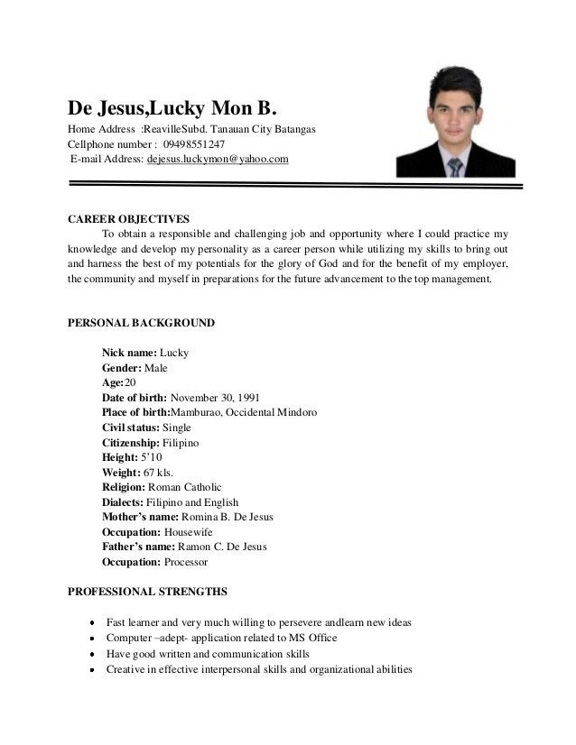 sample resume format for fresh graduates one page format. hvac ...