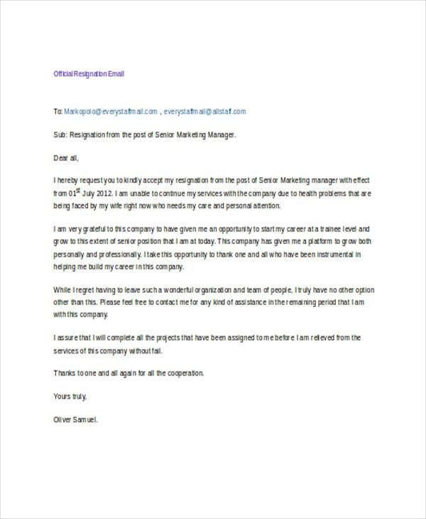 17+ Resignation Email Examples, Samples