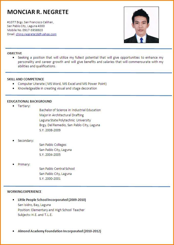 8+ resume for job application filipino | paradochart