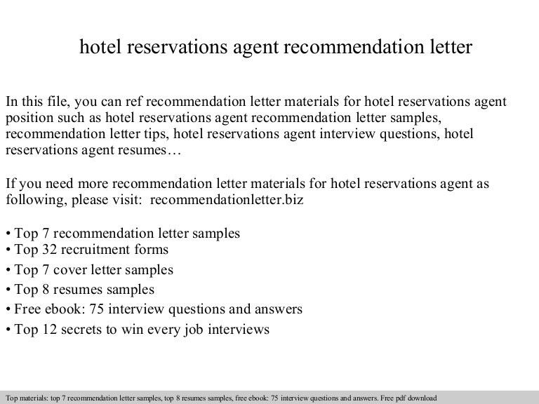 Hotel reservations agent recommendation letter