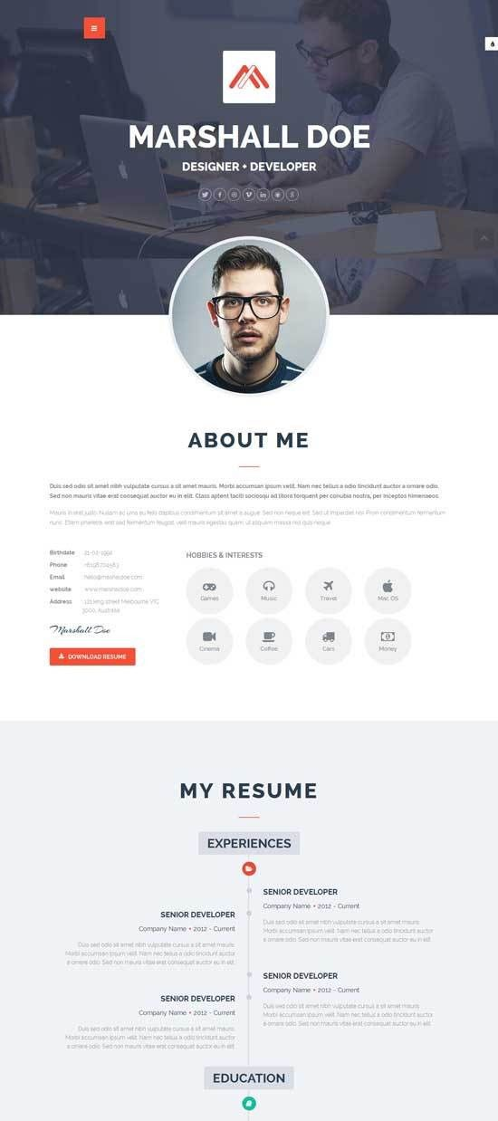50+ Best HTML Resume CV VCard Templates 2017 - freshDesignweb